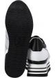 Hogan High Wedge Sneakers für Damen aus Leder und weißem Stoff mit Glitzer
