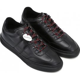 Hogan Sneakers Schuhe für Männer aus schwarzem Leder und roten Schnürsenkeln