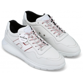 Hogan Sneakers Schuhe mit abgerundeten Zehen für Männer aus weißem Leder und Stoff