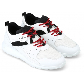 Hogan Sneakers schuhe aus weißem Leder und Stoff mit schwarzen Details und roten Schnürsenkeln