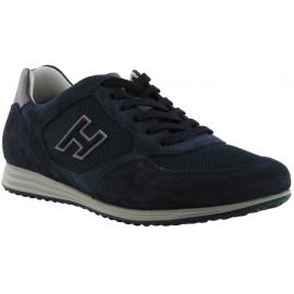 Hogan Herren mode-Sneakers Schuhe mit abgerundeter Spitze aus blauem Leder mit Logo