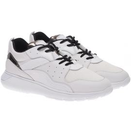Hogan Herren Sneakers aus weißem Leder und Stoff mit schwarzen Schnürsenkeln