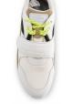 Hogan Herren Sneakers schuhe aus weißem Leder und Stoff mit Schnürsenkeln und Klettverschluss