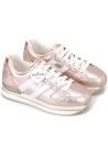 Hogan Damen mode-Sneakers aus metallisch rosa laminiertem Leder mit weißem Logo