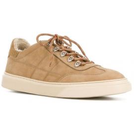 Hogan Niedrige Herren Sneakers Schuhe aus beigem Leder mit Kunstpelz innen