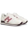 Hogan Sneakers schuhe mit abgerundeten Zehen für Frauen aus weißem Leder und rosa Logo