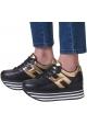 Hogan Damen Wedge Sneakers aus schwarzem Leder mit goldenem Metallic-Logo