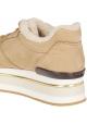 Hogan High Wedge Sneakers für Damen aus beigem Nubukleder mit Kunstfell
