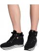 Hogan High Wedge Sneakers für Damen aus schwarzem Leder mit Glitzer und Fell im Inneren