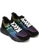Hogan Sneakers schuhe mit Keil für Frauen aus schwarzem Leder mit mehrfarbigem Design