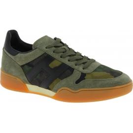 Hogan Niedrige Herren Sneakers mit abgerundeter Spitze aus getarntem grünem Leder