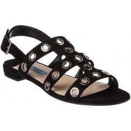 Prada Damen Sandalen aus schwarzem Wildleder