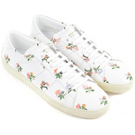 Saint Laurent Damen Sneakers weißem Leder Blumenmuster