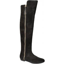 Giuseppe Zanotti Oberschenkelhohe Stiefel aus schwarzem Wildleder