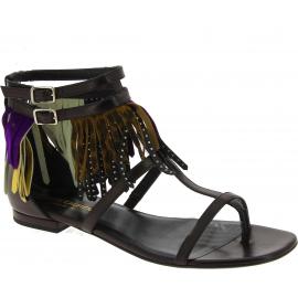 Flache Sandalen Saint Laurent aus schwarzem Leder