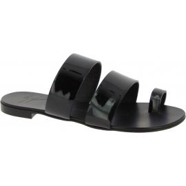 Flache Sandalen für Damen Zanotti aus schwarzem Leder