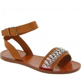 Miu Miu flache Sandalen aus Sandleder mit Kristallen