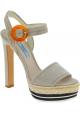 Prada High Heel Sandalen aus beigem Wildleder mit Seilmuster
