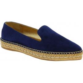 Prada Damen Espadrilles aus blauem Wildleder und goldenem Leder