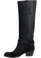 Barbara Bui Knie hohe Stiefel in schwarzem Leder Nubuk