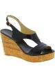 Jimmy Choo Damenmode Slingback High Wedges Sandalen aus schwarzem Leder