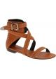 Barbara Bui Flache Damen sandalen aus Kamelleder mit Knöchelriemen