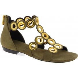 Barbara Bui Flache Damen sandalen aus hellbraunem Wildleder mit goldenen Nieten