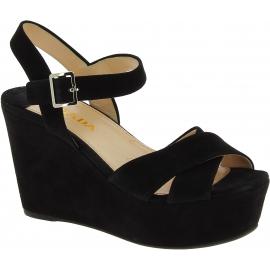 Prada Hochkeil sandalen für Damen aus schwarzem Wildleder mit Seiten schnalle
