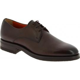 Santoni Oxford-Herrenschuhe mit abgerundeten Zehen aus braunem Leder