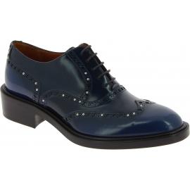 Sartore Schnürbrogues Schuhe für Damen mit Nieten aus blauem Leder