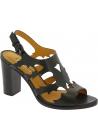 Sartore Damen Slingback Sandalen mit hohem quadratischen Absatz schwarz Leder