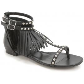 Saint Laurent Flache Sandalen Damen mode mit Nieten und Fransen schwarz Leder