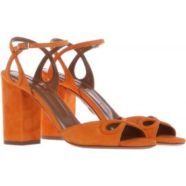 Aquazzura High Heel Sandaletten in orange Wildleder