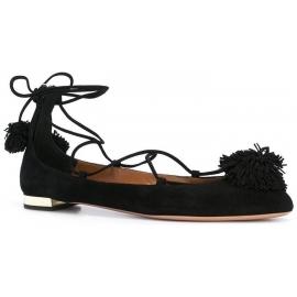 Aquazzura Riemchen Ballerinas aus schwarzem Veloursleder