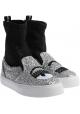 Chiara Ferragni Damen Sneakers aus silberfarbenem und schwarzem Glitzerstoff