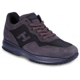 Hogan Interactive Herren Sneakers Schuhe aus taubengrauem Leder und Stoff mit Logo