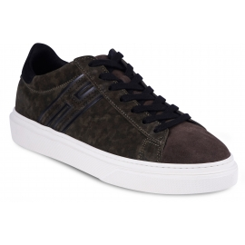 Hogan Niedrige Sneakers Schuhe für Herren aus grünem und braunem Wildleder
