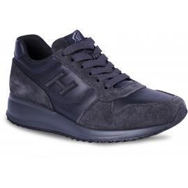 Hogan Interactive Herren Sneakers Schuhe aus blaugrauem Leder und Wildleder mit Logo