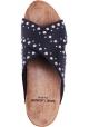 Saint Laurent Holzschuhe mit mittlerem Absatz für Frauen schwarz Leder mit silbernen Nieten