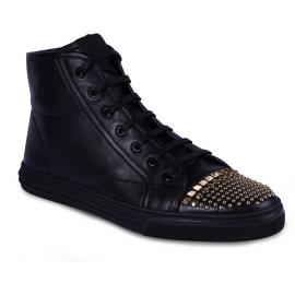 Gucci Damen mode Sneakers Schuhe aus schwarzem Leder mit goldenen Nieten