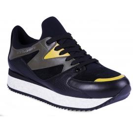 Dolce&Gabbana Herren Sneakers Schuhe schwarz Leder Wildleder mit grünen und gelben Einsätzen
