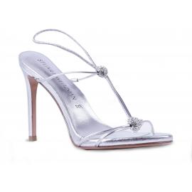 Stuart Weitzman Damen Slingback Sandalen mit Pfennigabsatz aus silbernem Leder mit Strass