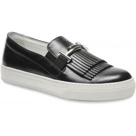 Tod's Sneakers Schuhe für Damen aus schwarzem Leder mit Fransen und doppeltem T