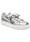 Tod's Niedrige Sneakers Schuhe für Damen aus silber laminiertem Leder mit Quasten