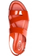 Tod's Flache Damen sandalen aus paprika rotem Lackleder mit Schnallen verschluss