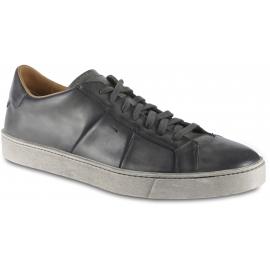 Santoni Herren-Sneaker aus grauem Leder mit Schnürverschluss