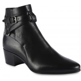 Saint Laurent Damen stiefelette aus schwarzem Leder mit Schnallen und Absatz