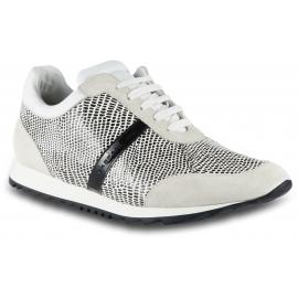 Barbara Bui Niedrige Damen Sneaker Schuhe aus weißem schwarzem Leder mit Python-Print