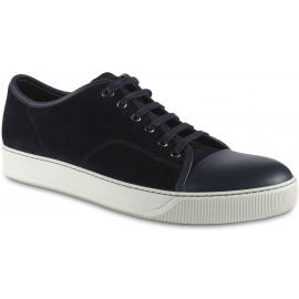 Lanvin Niedrige Sneakers für Herren aus schwarzem Wildleder und Nappaleder