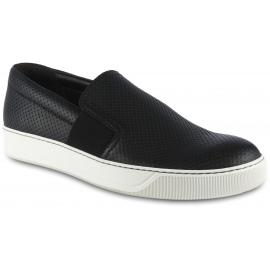 Lanvin Herren Slip-On Sneakers aus perforiertem schwarzem Leder mit seitlichen Gummibändern